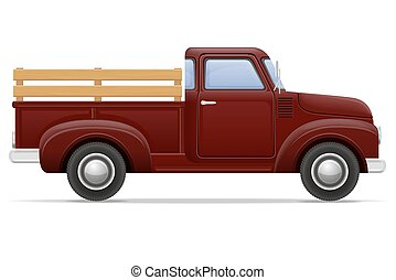 old retro car pickup vector illustration isolated on white...