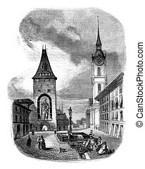 The Tower of Goliath in Bern, vintage engraving. - The Tower...
