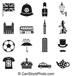 Great Britain icons set, simple style