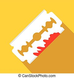 Razor blade with blood icon, flat style