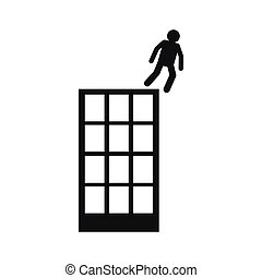 Man falling down of building icon