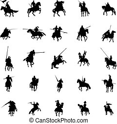 Knight and horse silhouette set on a white background
