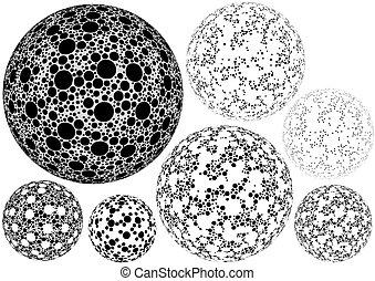 Dotted Spherical Shapes - Design Element Illustration,...