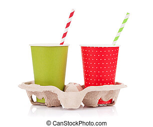 Two paper cups with takeaway drinks. Isolated on white...