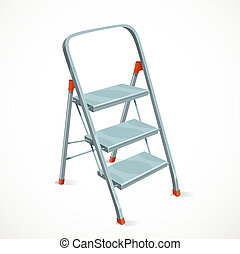 Foldable stepladder isolated on white background