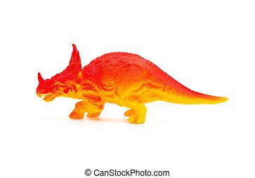 lado, vista, naranja, Triceratops, juguete, en, Un, blanco,...