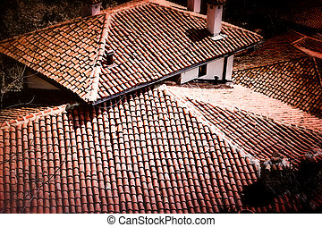 Tile roof - Red tile roof with chimney.