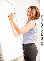 Happy businesswoman writing on a board