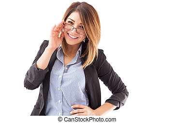 Gorgeous English teacher with glasses - Portrait of a...