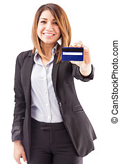 Bank executive giving you a credit card - Portrait of a...