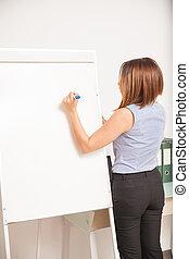 Businesswoman writing on a flip board