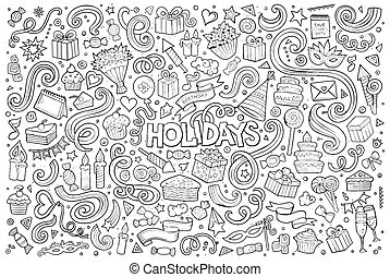 Line art set of holidays object - Line art vector hand drawn...
