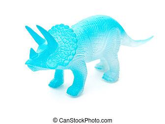 azul, Triceratops, juguete, en, Un, blanco, Plano de fondo,