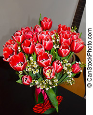 Bouquet of Red tulips - Bouquet of red tulips against a...