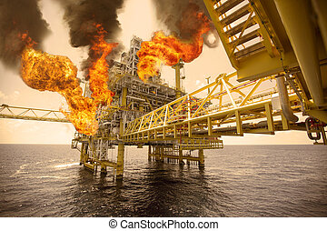 offshore oil and gas fire case or emergency case in warm...