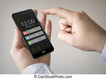 touchscreen smartphone with notifications on the screen -...