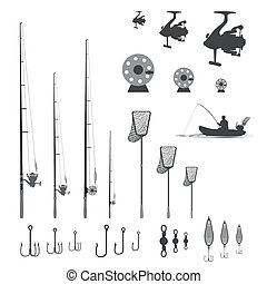 item set is for fishing - rubber boat. landing net and...