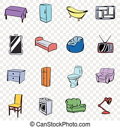 Furniture set icons