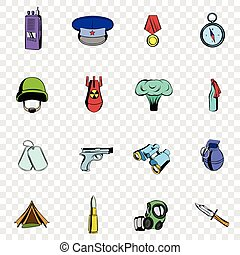 War set icons in hand drawn style on transparent background