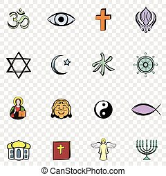 Religion set icons in hand drawn style on transparent...