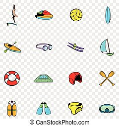 Water Sport set icons in hand drawn style on transparent...