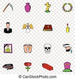 Death set icons in hand drawn style on transparent...