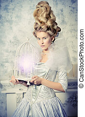 ice queen with bird cage