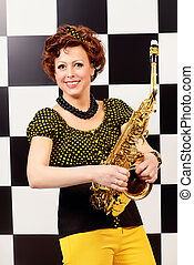 jazz lady - Beautiful saxophone player in retro style...