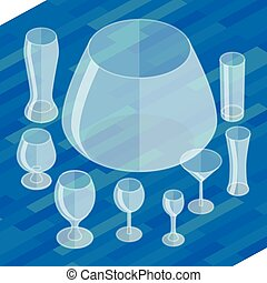 Glassware isometric flat icons set. Collection empty...