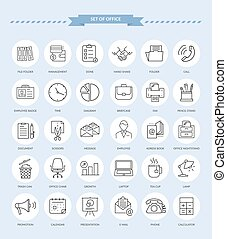 Set of Office Icons - Set of thin, lines, outline office...