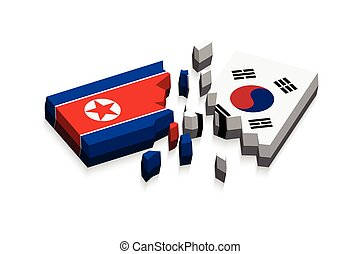Flag of north korea and south korea 3D damaged flags three...