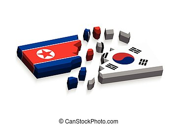 Flag of north korea and south korea 3D ( damaged flags ) (...