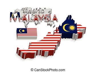 Malaysia 3D ( Federation of Malaysia )( flag and map )( transportation and tourism concept )