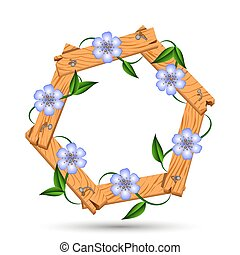 Wooden frame with light blue flowers - clematis twisted...