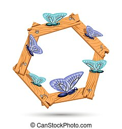 Wooden frame with different butterflies