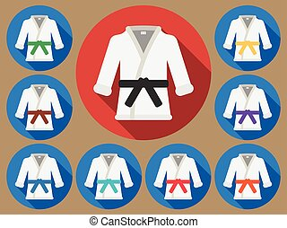 Karate suit flat - Karate suit icon with long shadow. Vector...