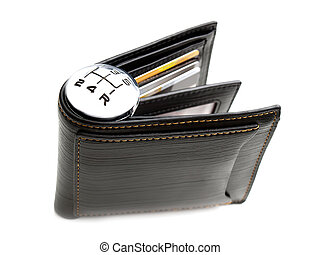 Money spending speed - Gear shift marks on a wallet as a...