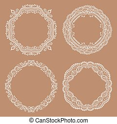 Vector circle frames. Hand drawn elements for design.