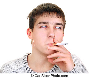 Young Man smoking Cigarette - Young Man with Cigarette...