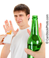 Teenager refuse Cigarettes and Beer - Teenager refuse a...