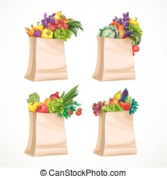 Paper bags filled with organic food fruits and vegetables isolated on white background