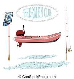 item set is for fishing - rubber boat landing net and...