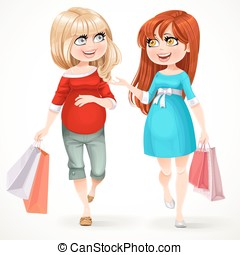 Two beautiful pregnant woman with shopping bags flow along a white background