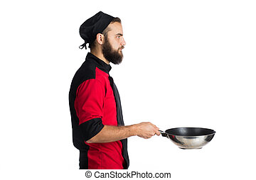 Portrait Of Male Chef Holding Pan Isolated On White...