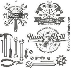 workshop logo - Vintage emblem repair workshop and tool shop...