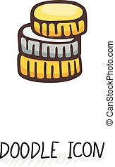 Doodle gold and silver coins icon.