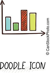 Vector doodle diagram icon. Chart with columns.