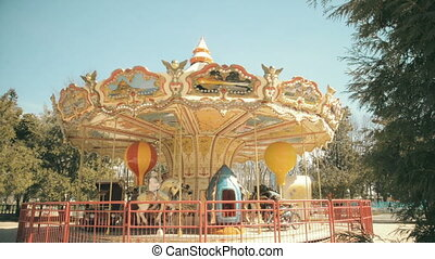 children's carousel in the park attraction