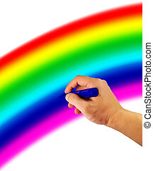 Rainbow - Picture of a hand hold pen with rainbow background...