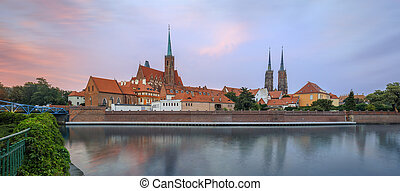 Wroclaw Tumski Island vivid sunset - View on Church of the...